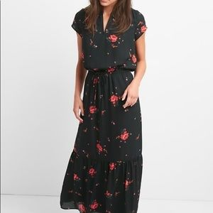 Gap Maxi Black Floral Dress - XS